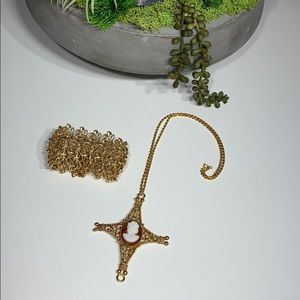 Costume Jewelry Cameo Necklace & Monet  Bracelet